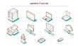 Leinwanddruck Bild - Isometric IT and Computing icon set