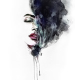 Abstract woman face. Fashion illustration. Watercolor painting - 131133671