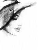 Abstrakcjonistyczna kobiety twarz. Ilustracja moda. Malarstwo akwarelowe - 131133857