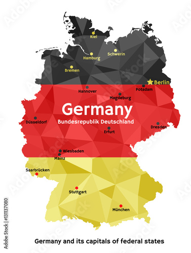 Obraz na plátně Map of Germany - Bundesrepublik Deutschland