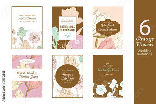 six unique vintage floral wedding invitations save the date cards set with bride and groom