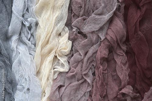 Fotografie, Obraz  Hand dyed pastel colored gauze  .