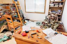 Teenage Boy's Messy Room. Tilt...