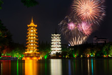 Fireworks Over Two Towers Of Guilin China