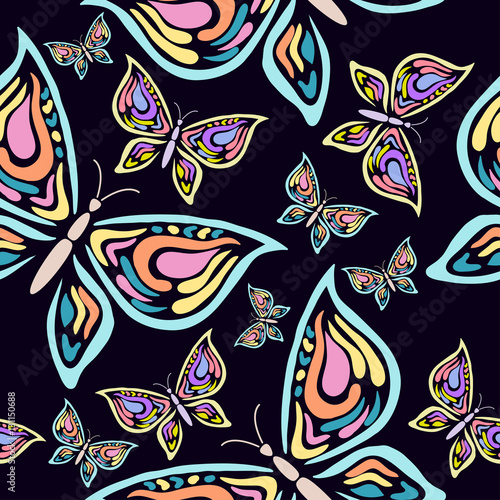 La pose en embrasure Papillons dans Grunge Seamless pattern with handdrawn butterfly on a black background.