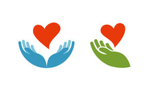 Heart In Hand Symbol Or Icon. Logo Template For Charity, Health. Vector Illustration