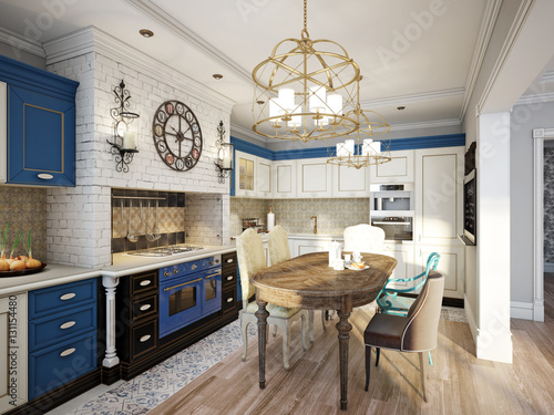 Photo  Kitchen in style of Provence, decorated with vintage kitchenware