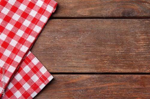 Aluminium Prints Picnic Red napkin on wooden table