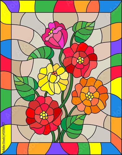 ilustracja-w-stylu-witrazu-z-kwiatow-pakow-i-lisci-z-zinnias-na-brazowym-tle