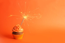 Fresh Tasty Cupcake With Spark...