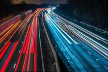Night View Of UK Motorway Highway