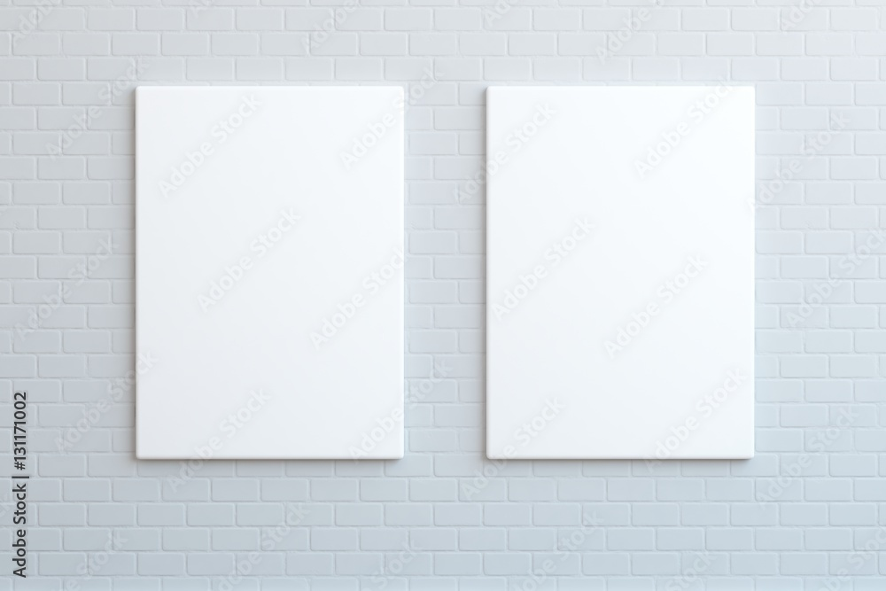 Fototapety, obrazy: `Two white posters hanging on the wall, mock up