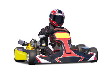 Isolated Adult Go Kart Racer on Track