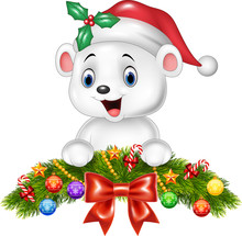 Christmas Background With Happy Polar Bear