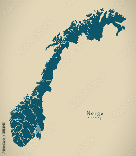 Fotografie, Tablou  Modern Map - Norway with counties NO illustration