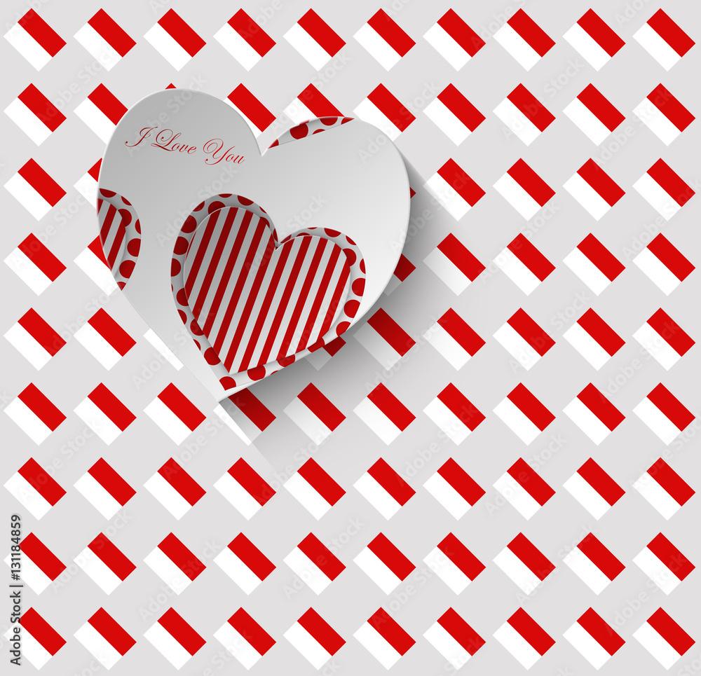 Photo Art Print Cuore Con Sritta J Love You Su Sfondo Bianco Rosso