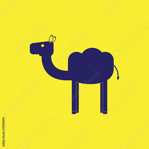 Fotografering  Camel Silhouette on colour background