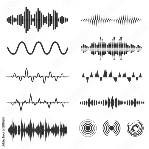 Signal wave set. Vector analog signals and digital sound waves forms Wall mural