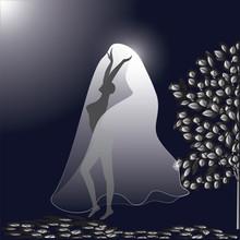Dance Woman Night Moon Dark Background Art Creative Modern Vector