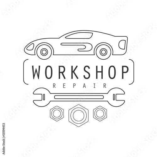 Car Repair Workshop Black And White Label Design Template