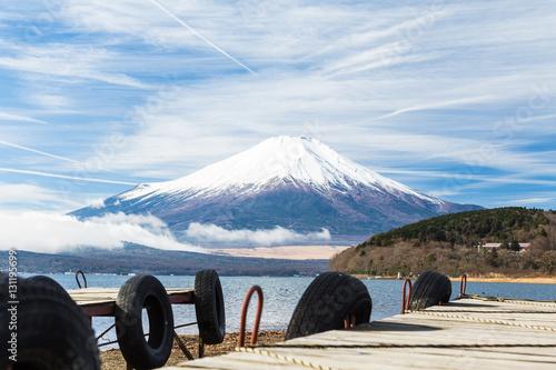 Poster Reflexion Mt.Fuji and Lake Yamanakako.The shooting location is Lake Yamanakako, Yamanashi prefecture Japan.