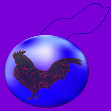 Blue Christmas Ball. Purple Background. Fiery Silhouette Cock. Decoration. Vector Illustration