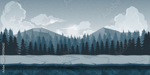Background for games apps or mobile development. Cartoon nature landscape with forest and mountains. Vector illustration your design