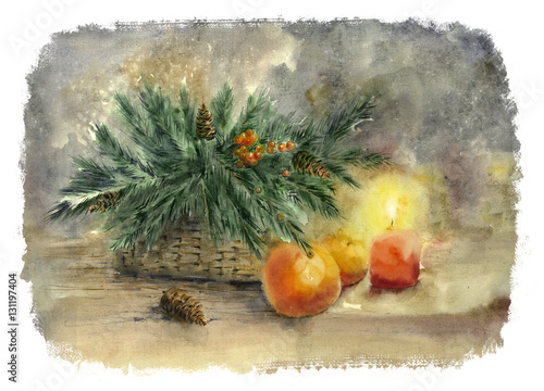 watercolor-painting-vintage-christmas
