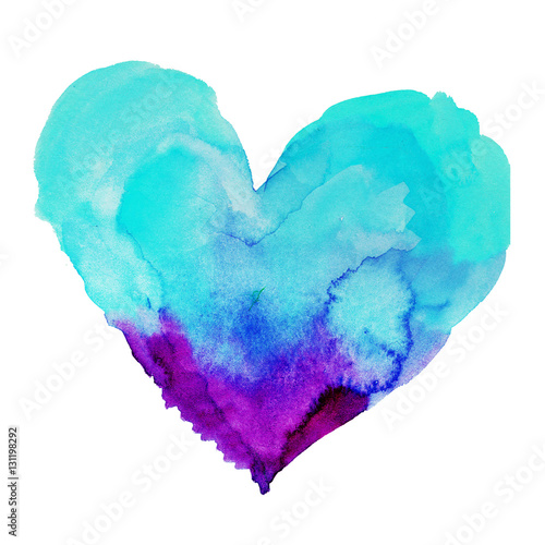 cute watercolor heart symbol illustration isolated on white