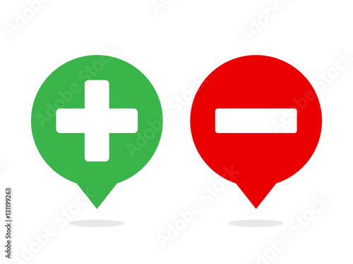 Fotografie, Obraz  Plus and minus in comic balloon icon vector