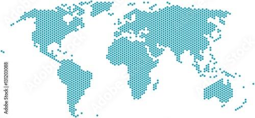 Fotobehang Wereldkaart Hexagon shape world map on white background, vector illustration.