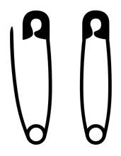 Safety Pin Stock Black Silhoue...