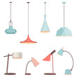 Lamps sign set for interior. Electricity floor lamp and table lamps concept. Home decoration object in flat style. Vector spotlight accessory