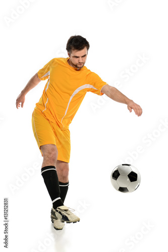 Soccer Player Kicking Ball Canvas Print