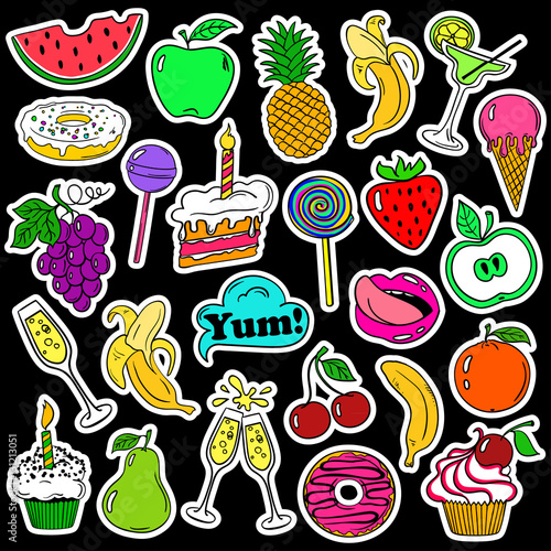 Fototapety, obrazy: Fun Set Of Fruits And Sweets Stickers.