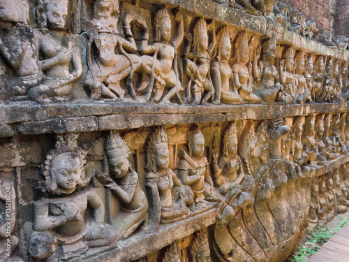 Ancient cambodian angkor stone carvings of citizens buy this
