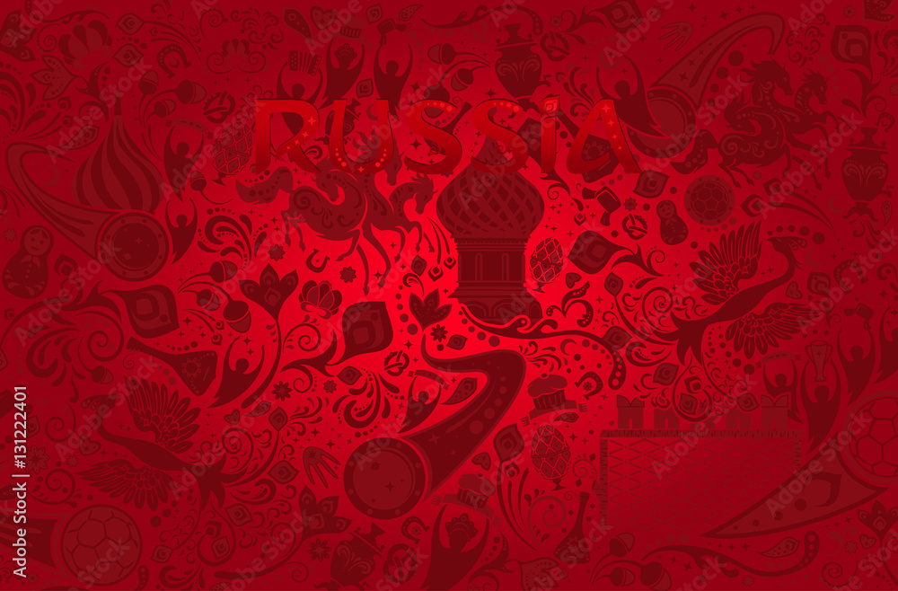 Fototapety, obrazy: Russian red background, vector illustration