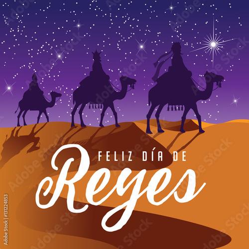 Fotografie, Obraz  Feliz Dia De Reyes (Day of Kings) featuring the three wise men riding camels