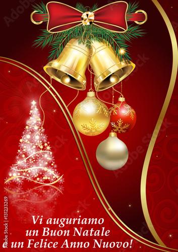 Cartoline Buon Natale E Felice Anno Nuovo.Vi Auguriamo Un Buon Natale E Un Felice Anno Nuovo Cartolina Stock Illustration Adobe Stock