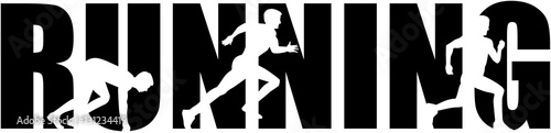 Fotografie, Obraz  Running word with sprinting silhouette