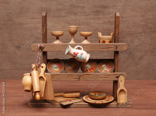 Photo  Old dollhouse kitchen equipments