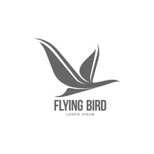 Stylized Heron, Crane, Stork Silhouette Logo Template, Vector Illustration Isolated On White Background. Abstract Black And White Flying Heron, Crane, Stork Logo Design