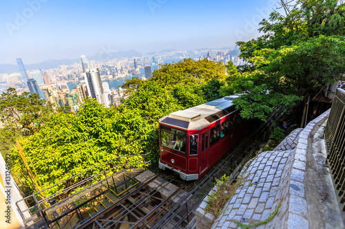 Deurstickers Hong-Kong The popular red Peak Tram to Victoria Peak, the highest peak of Hong Kong island. Tourist tram with panoramic city skyline in the background in a sunny day.