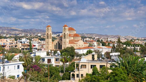 Garden Poster Cyprus The panorama of Paphos with Agioi Anargyroi Orthodox Cathedral, Cyprus.