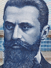 Theodor Herzl (1860 - 1904) Portrait On Old Israeli 10 Shekel Banknote Macro.