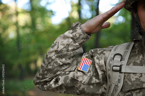 Fotografie, Obraz  Soldier in camouflage taking salute, close up view