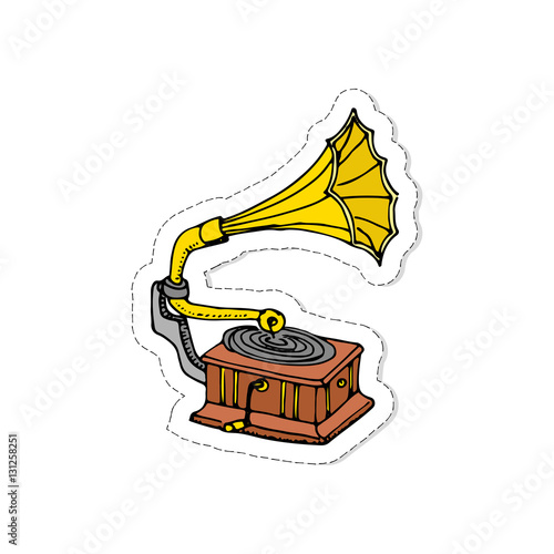 hand drawn doodle gramophone patch vector illustration musical instrument and symbols icons collections cartoon sound concept elements music gramophone vector logo design template buy this stock vector and explore similar vectors adobe stock