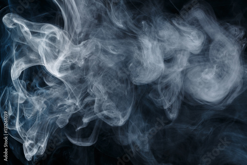 Garden Poster Smoke Abstract smoke Weipa. Personal vaporizers fragrant steam. The concept of alternative non-nicotine smoking. Blue smoke on a black background. E-cigarette. Evaporator. Taking Close-up. Vaping.