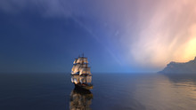 3d Rendering Of Sailing Ship In The Vast Ocean With Small Waves