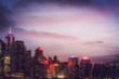 blured lighhts of Hong Kong city with sunset, vintage tone